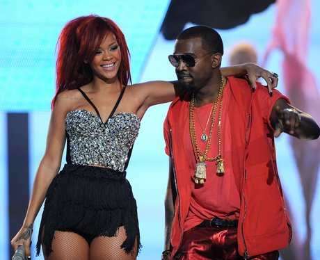 Rihanna and Kanye West at The NBA All-Star Game